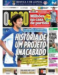capa Jornal O Jogo de 17 setembro 2019