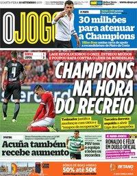 capa Jornal O Jogo de 18 setembro 2019