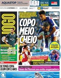capa Jornal O Jogo de 20 setembro 2019