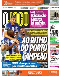 capa Jornal O Jogo de 21 setembro 2019