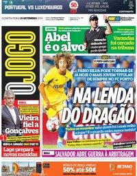 capa Jornal O Jogo de 25 setembro 2019