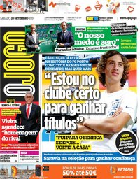 capa Jornal O Jogo de 28 setembro 2019