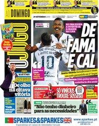 capa Jornal O Jogo de 29 setembro 2019
