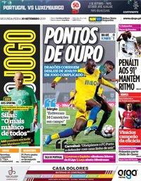 capa Jornal O Jogo de 30 setembro 2019