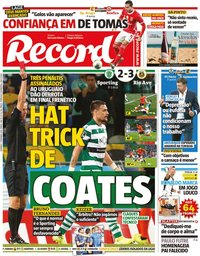 capa Jornal Record de 1 setembro 2019