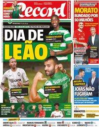 capa Jornal Record de 3 setembro 2019
