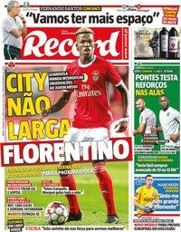 capa Jornal Record de 7 setembro 2019