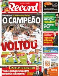 capa Jornal Record de 8 setembro 2019
