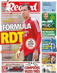 capa Jornal Record de 9 setembro 2019