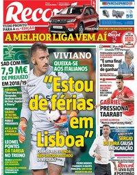 capa Jornal Record de 10 setembro 2019