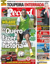 capa Jornal Record de 12 setembro 2019
