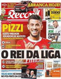 capa Jornal Record de 13 setembro 2019