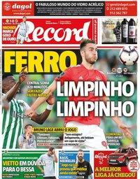 capa Jornal Record de 14 setembro 2019