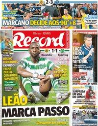 capa Jornal Record de 16 setembro 2019