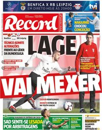 capa Jornal Record de 17 setembro 2019