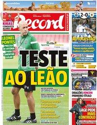 capa Jornal Record de 23 setembro 2019