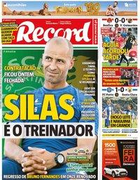 capa Jornal Record de 26 setembro 2019