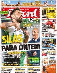 capa Jornal Record de 27 setembro 2019