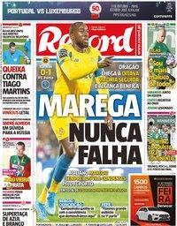 capa Jornal Record de 30 setembro 2019
