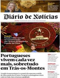 capa Diário de Notícias de 1 outubro 2019