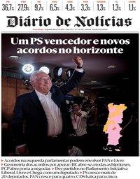capa Diário de Notícias de 7 outubro 2019