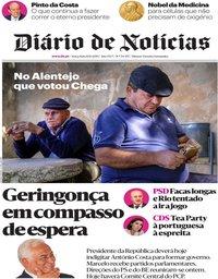 capa Diário de Notícias de 8 outubro 2019