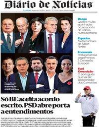 capa Diário de Notícias de 9 outubro 2019