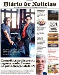 capa Diário de Notícias de 12 outubro 2019