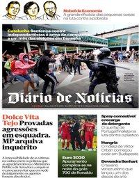 capa Diário de Notícias de 15 outubro 2019