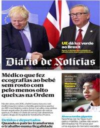 capa Diário de Notícias de 18 outubro 2019