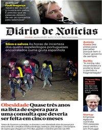 capa Diário de Notícias de 22 outubro 2019