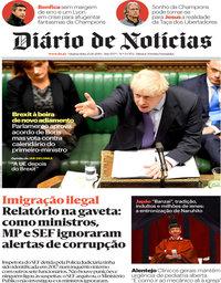 capa Diário de Notícias de 23 outubro 2019