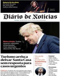 capa Diário de Notícias de 29 outubro 2019