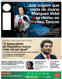 capa Jornal i de 8 outubro 2019