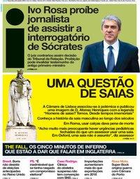 capa Jornal i de 29 outubro 2019