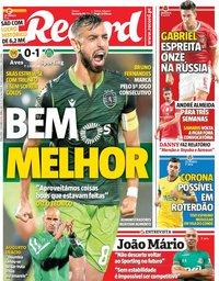 capa Jornal Record de 1 outubro 2019
