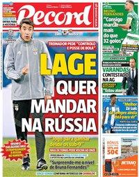 capa Jornal Record de 2 outubro 2019