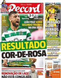 capa Jornal Record de 4 outubro 2019