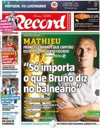 capa Jornal Record de 7 outubro 2019