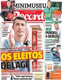 capa Jornal Record de 9 outubro 2019