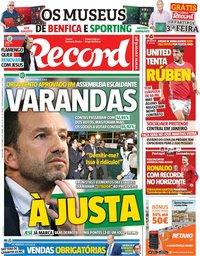 capa Jornal Record de 11 outubro 2019