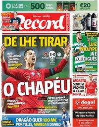 capa Jornal Record de 12 outubro 2019