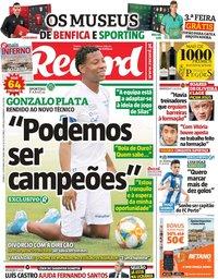 capa Jornal Record de 13 outubro 2019