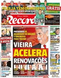 capa Jornal Record de 14 outubro 2019