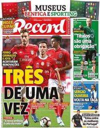 capa Jornal Record de 17 outubro 2019