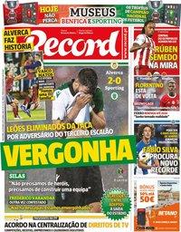 capa Jornal Record de 18 outubro 2019