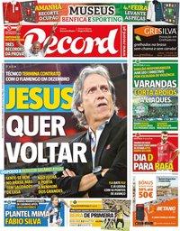 capa Jornal Record de 21 outubro 2019
