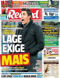 capa Jornal Record de 22 outubro 2019