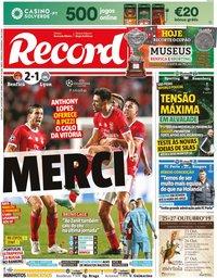 capa Jornal Record de 24 outubro 2019
