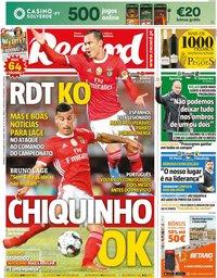 capa Jornal Record de 27 outubro 2019